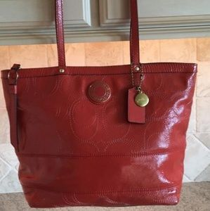 Coach Bags - Coach Patent leather tote tangerine